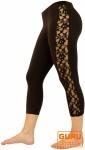 3/4 Psytrance Leggings, Goa Leggings, Festival Leggings, Spitzen Leggings - braun