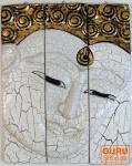 Dreiteiliges Buddhawandbild - weiß gold 39*30 cm