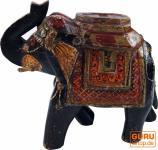 bemalte Figur Holzelefant, Skulptur Elefant