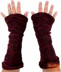 Handstulpen aus Samtstoff bestickt - weinrot