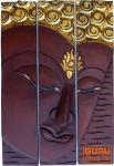 Dreiteiliges Buddhawandbild, braun, rechtsblickend, 76*50 cm