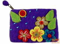 Portemonnaie aus Filz, Filzportemonnaie flower Power lila