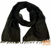 Indischer Schal, feiner Wollschal schwarz
