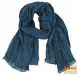 Indisches Baumwolltuch, Schal, Krinkelschal - blau