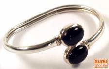 Silberarmreifen mit Halbedelstein - Onyx