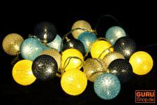 "Stoff Ball Batterielichterkette 3xAA "" modern colours"" grau, blau, gelb"