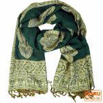 Indischer Schal mit Paislay Muster - grün
