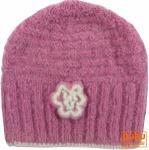 Wollmütze mit Blume - rosa