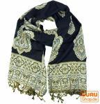 Indischer Schal mit Paislay Muster - schwarz