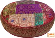 Orientalisches Rundes Patchwork Kissen 40 cm, Sitzkissen, Bodenkissen mit Baumwollfüllung