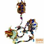 Mobile Stofftierkette aus Indien Pfau