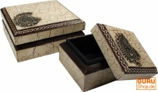 Handbemalte Holzdose, Schmuckschachtel `Bagru`