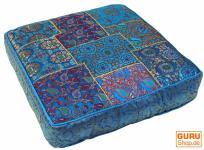 Orientalisches eckiges Patchwork Kissen 40 cm, Sitzkissen, Bodenkissen mit Baumwollfüllung