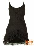 Psytrance Minikleid, Goa Elfen Kleid mit Spitze - braun