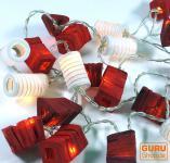 LED Lichterkette Lampions mix rot