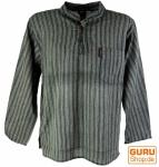 Nepal Fischerhemd gestreiftes Goa Hippie Hemd - schwarz/grau