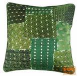 Dekokissenhülle - Saree Patchwork grün