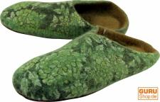 Filzhausschuhe `Blümchen` - grün