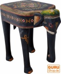 bemalter Elefanten Hocker - schwarz