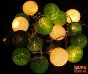Stoff Ball LED Lichterkette grün-weiß
