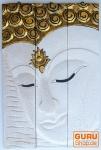 Dreiteiliges Buddhawandbild, antikweiß, linksblickend 76*50 cm