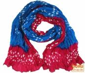 Batiktuch, Batikschal, Batiksarong - blau/rot