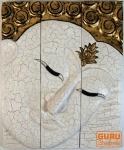 Dreiteiliges Buddhawandbild - weiß gold 51*40 cm
