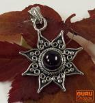 Silberanhänger Sonne 2 Granat