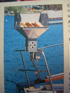 Edelstahl - Bootsgrill Holzkohlegrill Yacht Angelboot Boot Verdränger für Reling - Vorschau