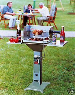 Grillspieß m. 2 Fleischhaken Holzkohlegrill Spieß Grill - Vorschau 2