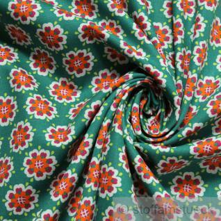 Stoff Baumwolle Popeline grün Herzchen - Blüte Baumwollstoff Blumen Blümchen