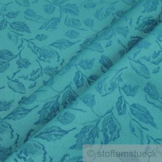 Stoff Polyester Jacquard Blätter aqua 25.000 Martindale lichtecht wasserdicht