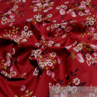 Stoff Baumwolle rubinrot Margerite Rose 160 cm breit Baumwollstoff Blume rot