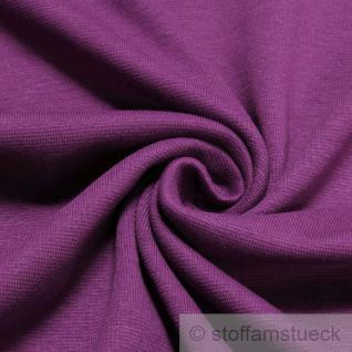0, 5 Meter Baumwolle Lycra Interlock Jersey Bündchen violett 60 cm breit Schlauch
