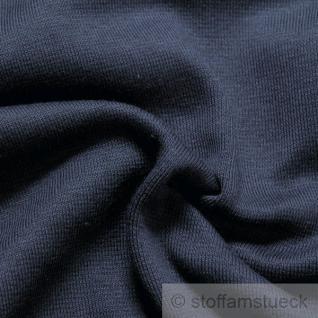 0, 5 Meter Baumwolle Lycra Interlock Jersey Bündchen dunkelblau GOTS 80 cm breit