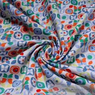 2 Meter Stoff Baumwolle Popeline weiß Schmetterling blau Prilblume Baumwollstoff