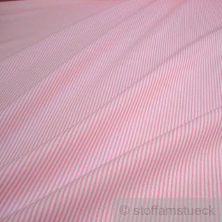 Stoff Baumwolle Zündholzstreifen rosa weiß weiss 1, 5 mm Streifen schmal