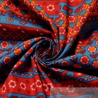 Stoff Kinderstoff Baumwolle Patchwork mittelblau rot Mille Fleurs Blümchen blau