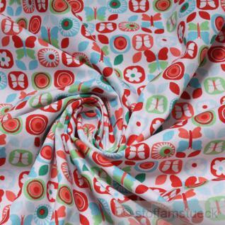 2 Meter Stoff Baumwolle Popeline weiß Schmetterling rot Prilblume Baumwollstoff