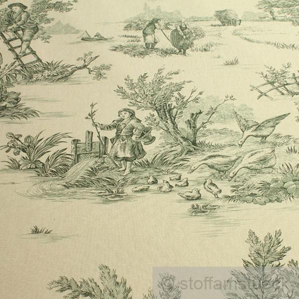 stoff baumwolle elfenbein toile de jouy l ndlich gr n land 280 cm breit klassisch kaufen bei. Black Bedroom Furniture Sets. Home Design Ideas