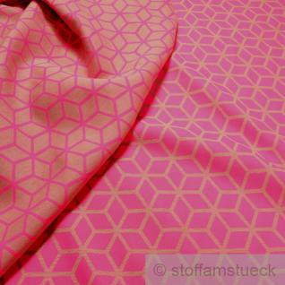 Stoff Polyester Baumwolle Jacquard Raute pink beige breit 280 cm neon