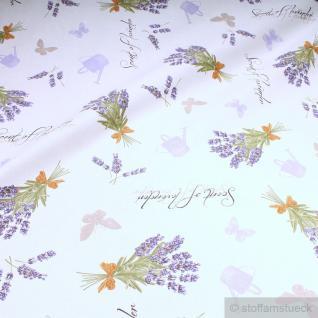 Stoff Baumwolle weiß Lavendel lila allover Provence Duft von Lavendel