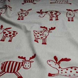 Stoff Baumwolle Polyester Rips natur Elch rot groß Elche Tier Rentier natur
