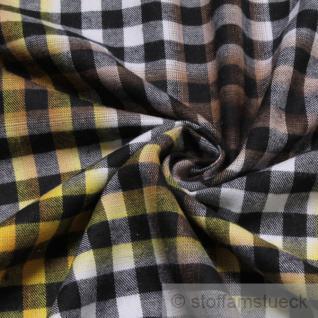 Stoff Baumwolle Flanell Bauernkaro schwarz weiß gelb bügelarm Baumwollstoff Karo