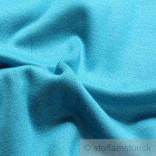0, 5 Meter Baumwolle Lycra Interlock Jersey Bündchen aqua 50 cm breit II.Wahl