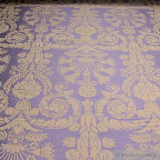 Stoff Polyester Baumwolle Jacquard Ornament taupe gold 280 cm breit lila
