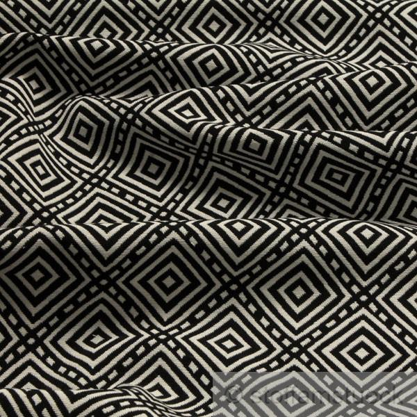Stoff Baumwolle Polyester Jacquard schwarz weiß Raute weiß schwarz