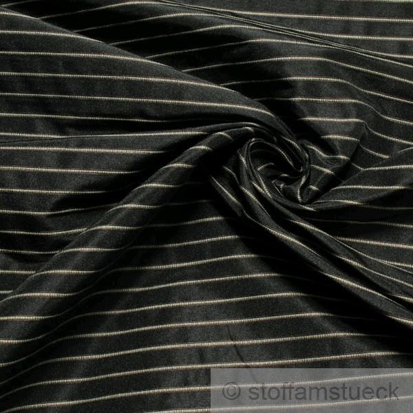 Stoff Polyester Baumwolle Streifen anthrazit beige Vorhangstoff fest