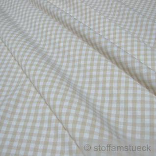 Stoff Baumwolle Vichy Karo groß beige weiß 5 mm Vichykaro