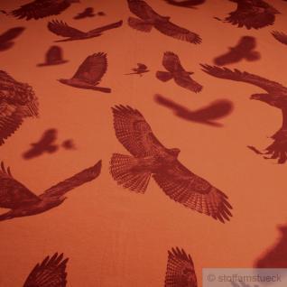 Stoff Baumwolle Lycra Single Jersey orange Adler angeraut weich groß gemustert